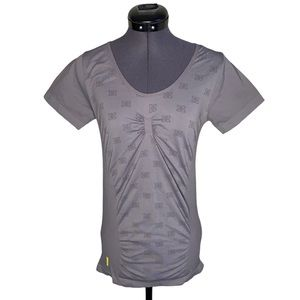 Lole Grey Ruched Active Short Sleeve T-Shirt